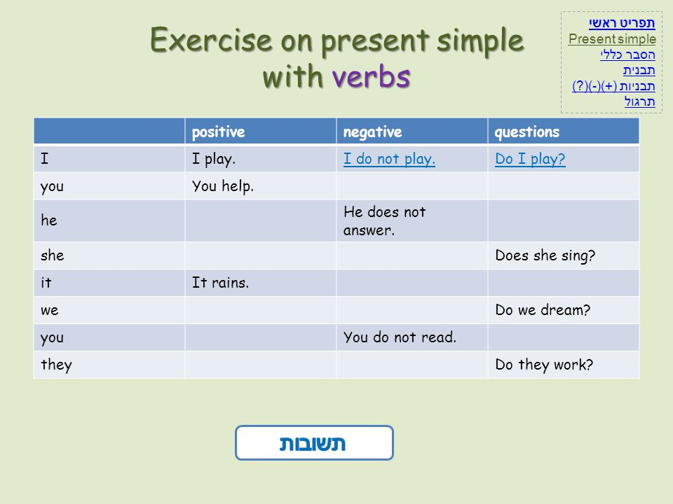Exercise on present simple with verbs