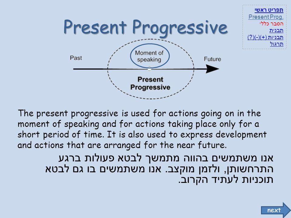 תפריט ראשי Present Prog. הסבר כללי. תבנית. תבניות (+)(-)( ) תרגול. Present Progressive.