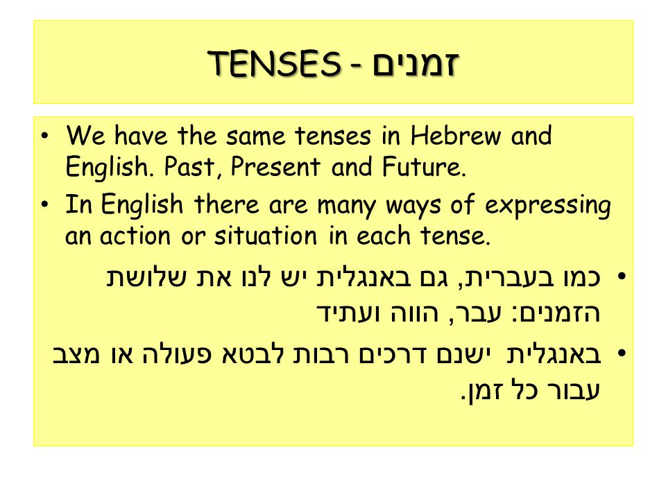 TENSES - זמנים We have the same tenses in Hebrew and English. Past, Present and Future.