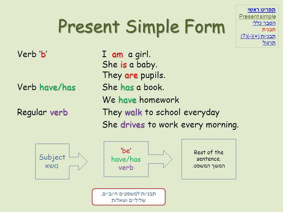תפריט ראשי Present simple. הסבר כללי. תבנית. תבניות (+)(-)( ) תרגול. Present Simple Form.