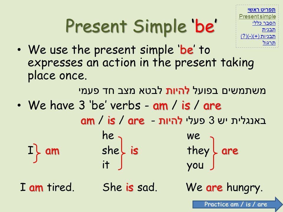 תפריט ראשי Present simple. הסבר כללי. תבנית. תבניות (+)(-)( ) תרגול. Present Simple 'be'