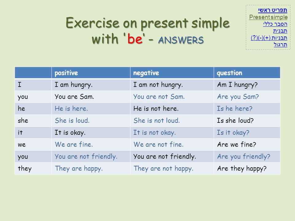 Exercise on present simple with be' - ANSWERS