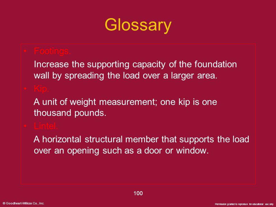 Glossary Footings. Increase the supporting capacity of the foundation wall by spreading the load over a larger area.