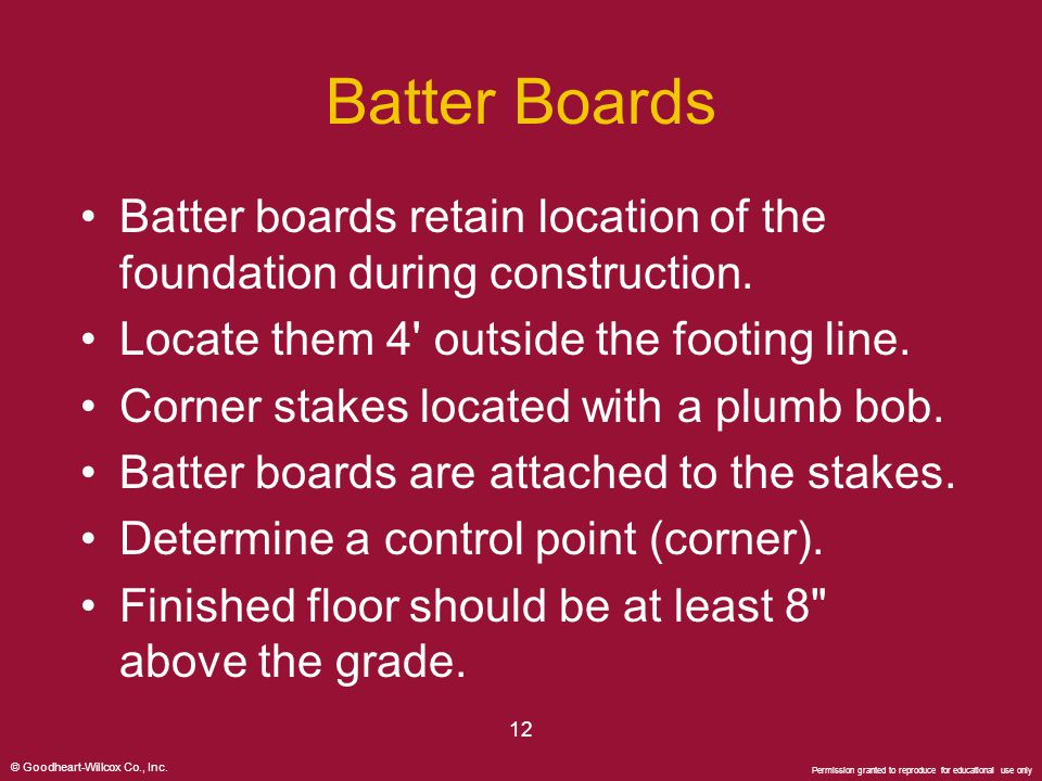 Batter Boards Batter boards retain location of the foundation during construction. Locate them 4 outside the footing line.