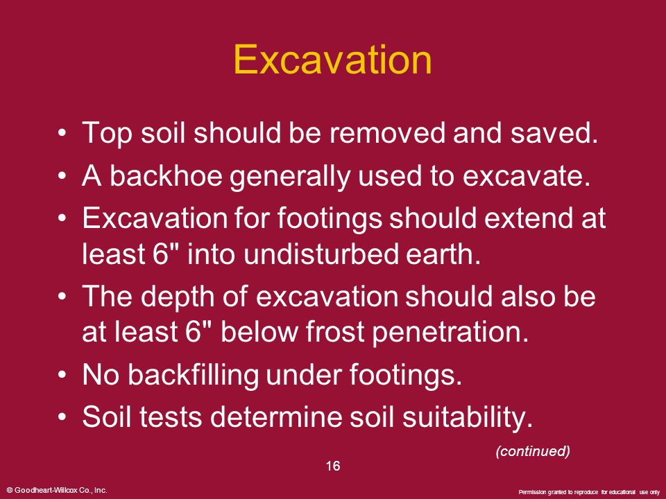 Excavation Top soil should be removed and saved.