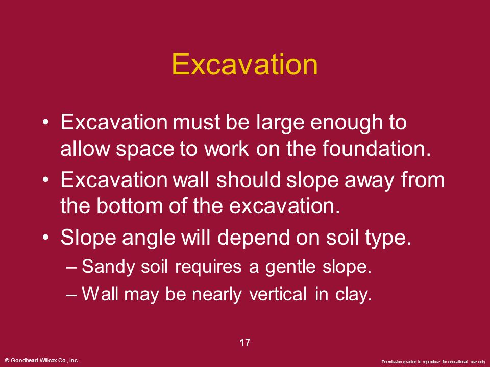 Excavation Excavation must be large enough to allow space to work on the foundation.