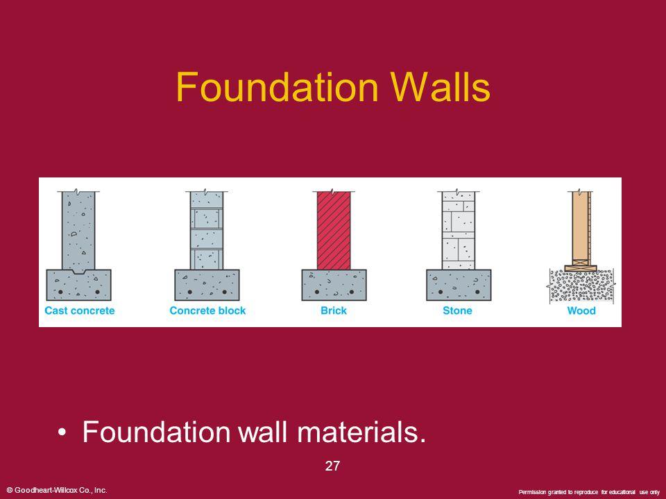 Foundation Walls Foundation wall materials. 27