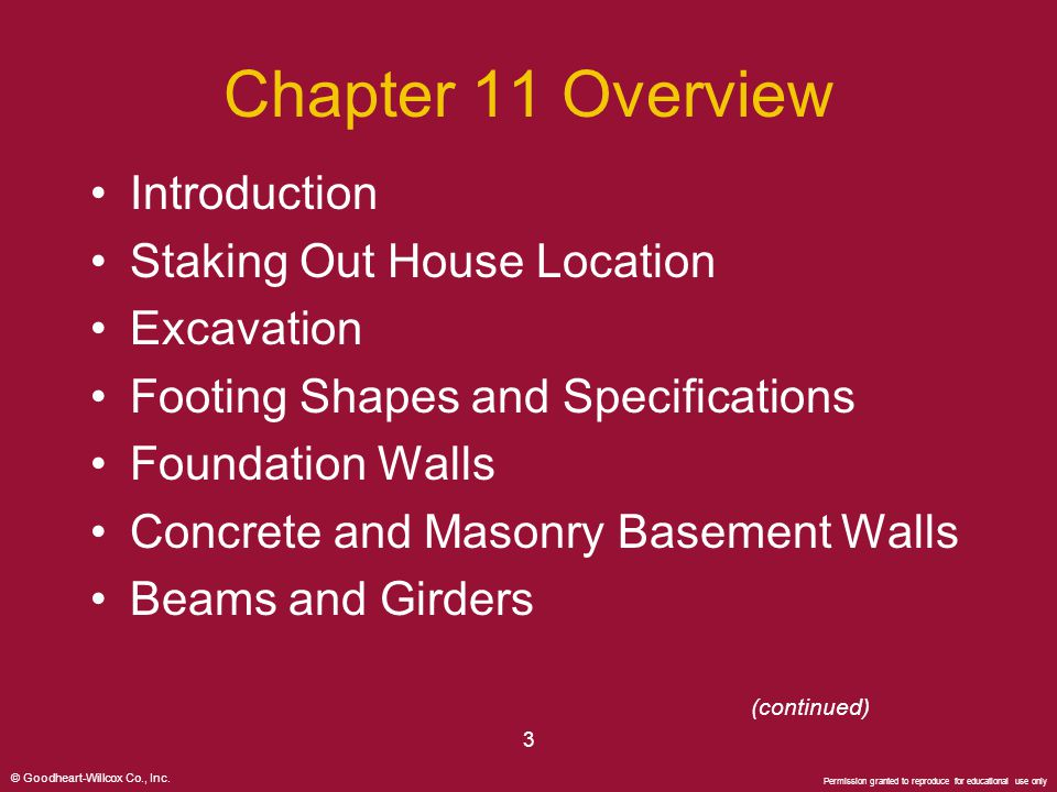 Chapter 11 Overview Introduction Staking Out House Location Excavation