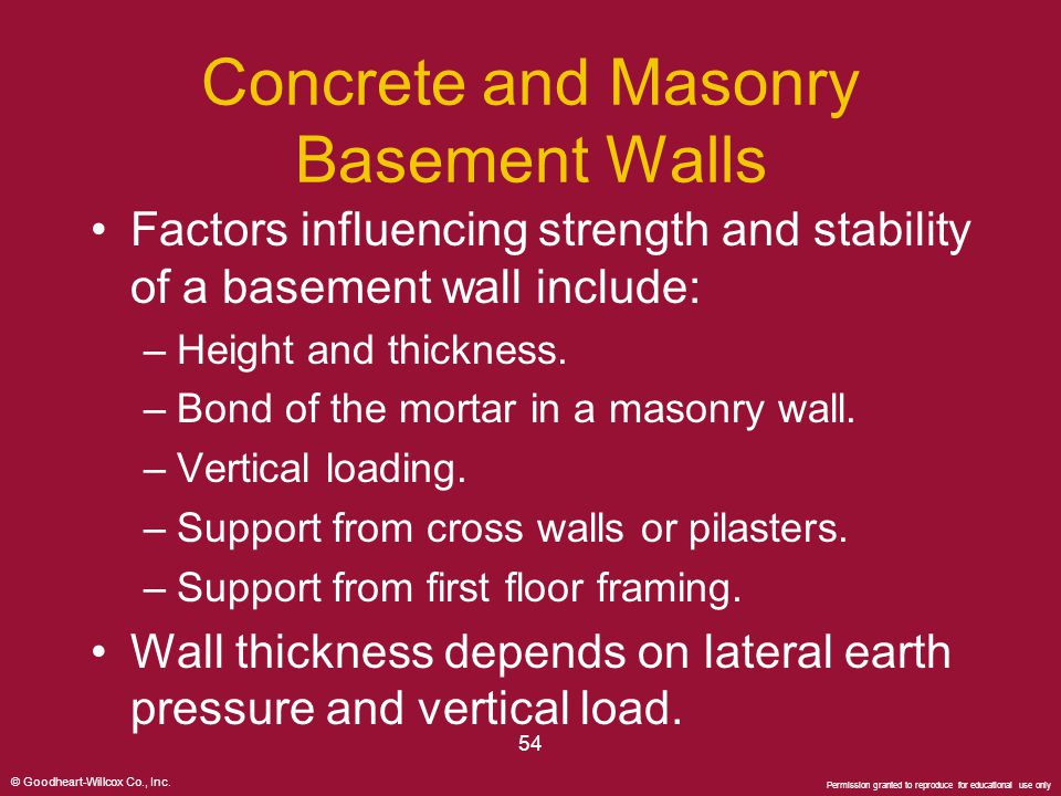 Concrete and Masonry Basement Walls