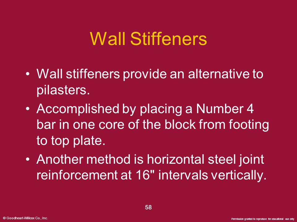 Wall Stiffeners Wall stiffeners provide an alternative to pilasters.