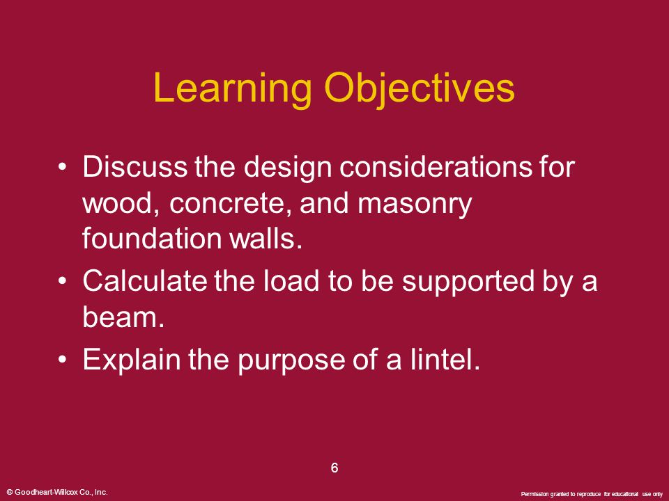 Learning Objectives Discuss the design considerations for wood, concrete, and masonry foundation walls.