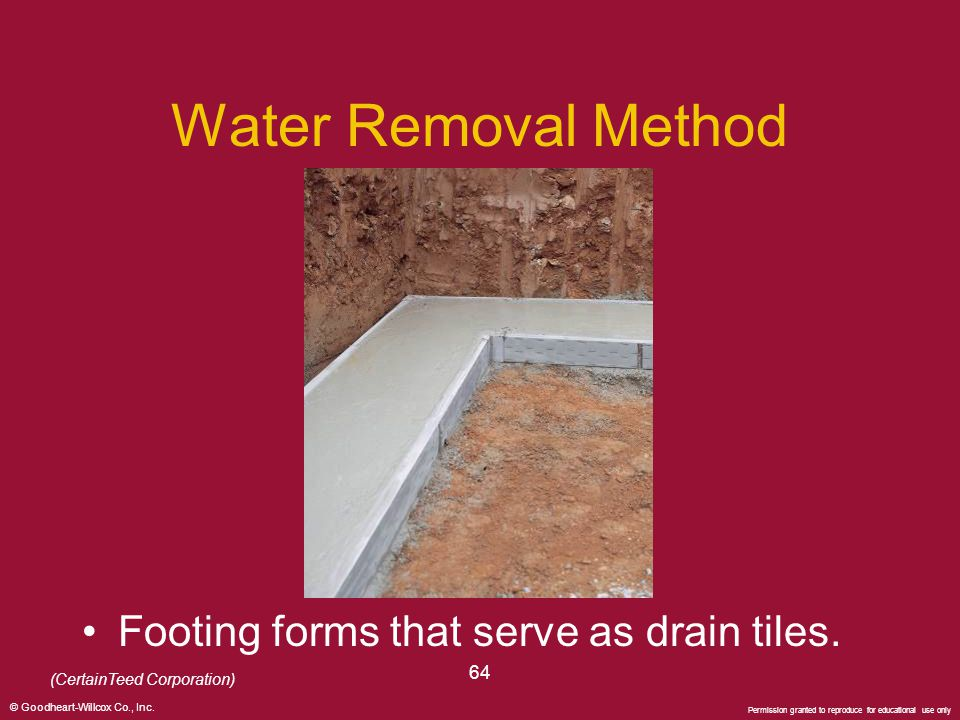 Water Removal Method Footing forms that serve as drain tiles. 64