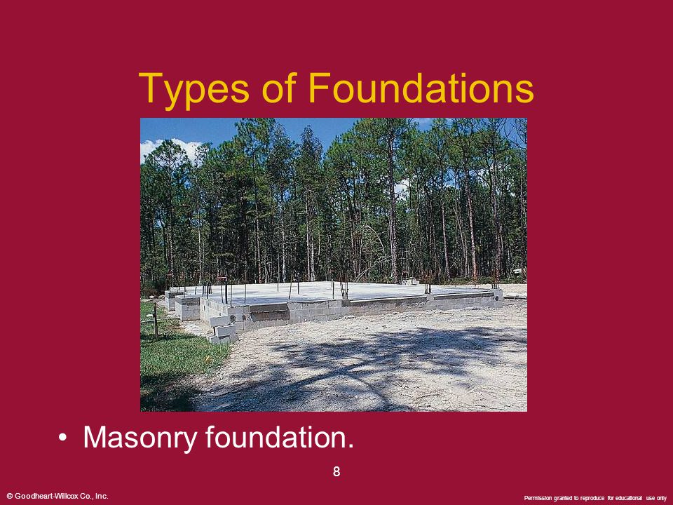 Types of Foundations Masonry foundation. 8