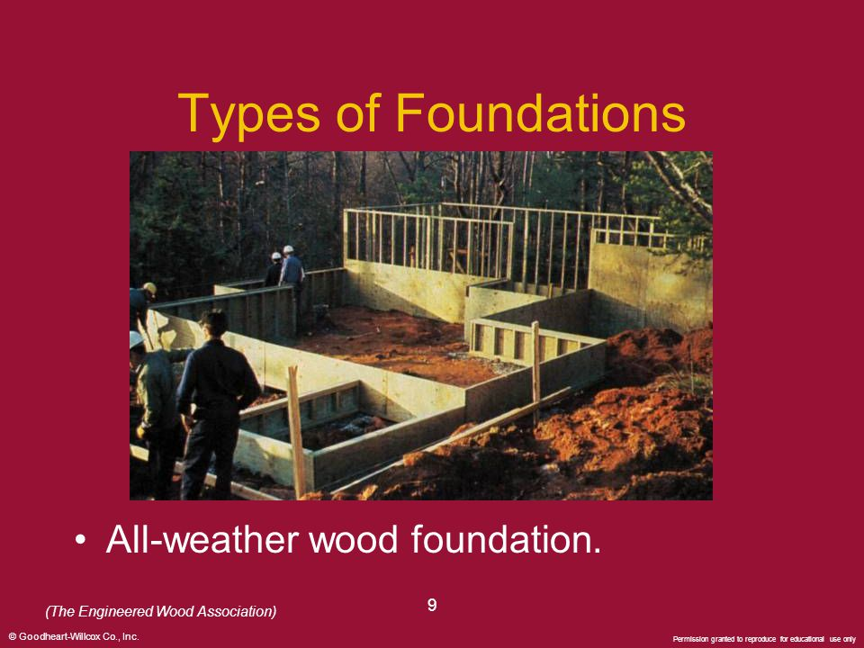 Types of Foundations All-weather wood foundation. 9