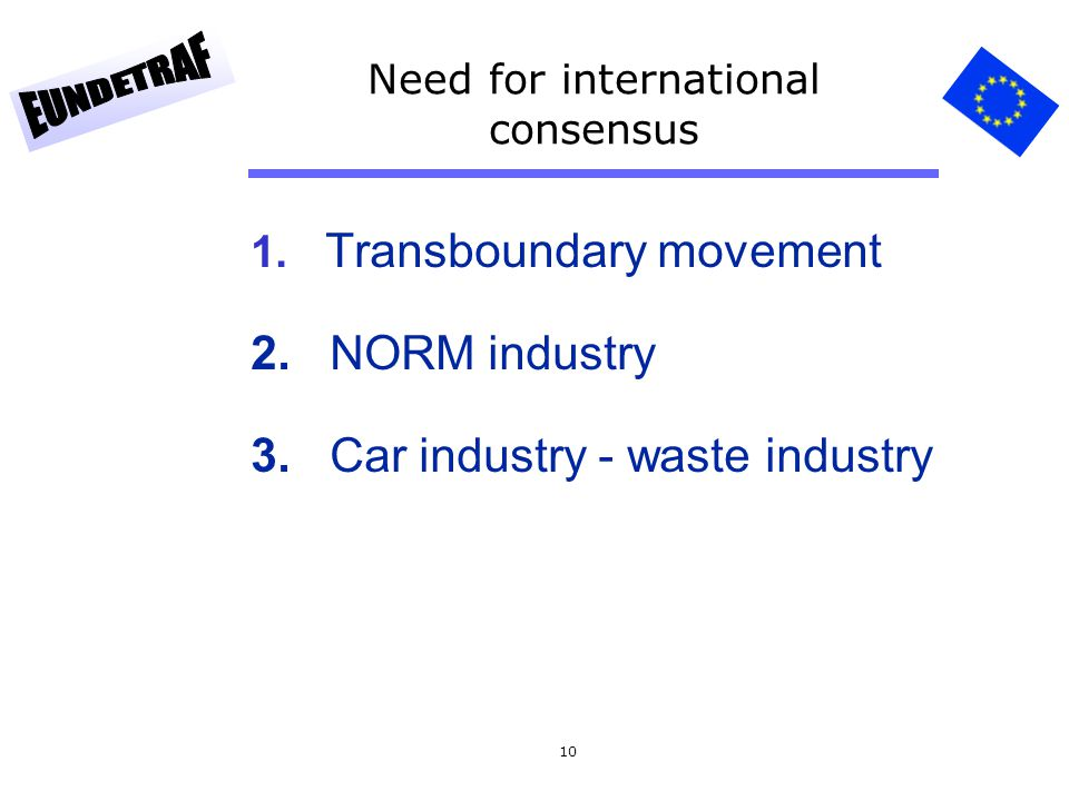 Need for international consensus