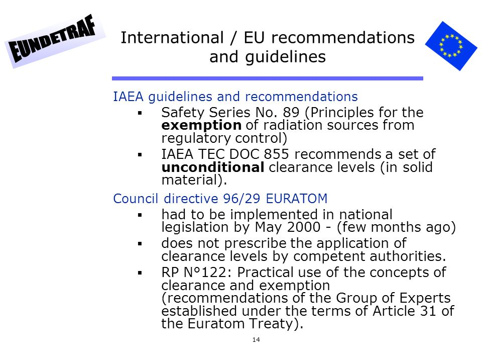 International / EU recommendations and guidelines