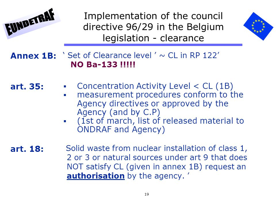 Implementation of the council directive 96/29 in the Belgium legislation - clearance