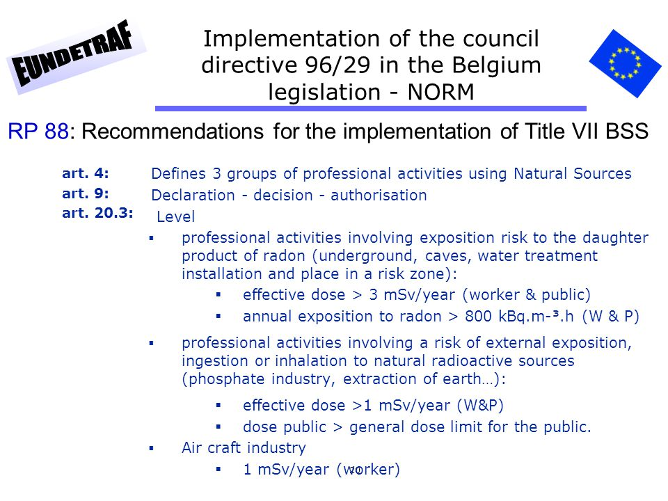 RP 88: Recommendations for the implementation of Title VII BSS