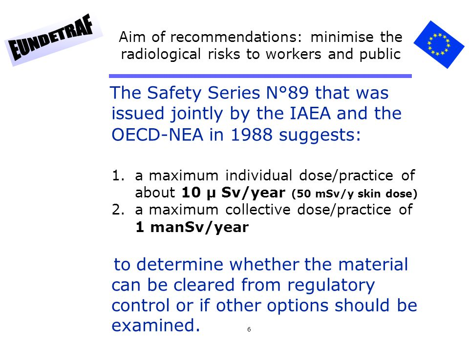Aim of recommendations: minimise the radiological risks to workers and public
