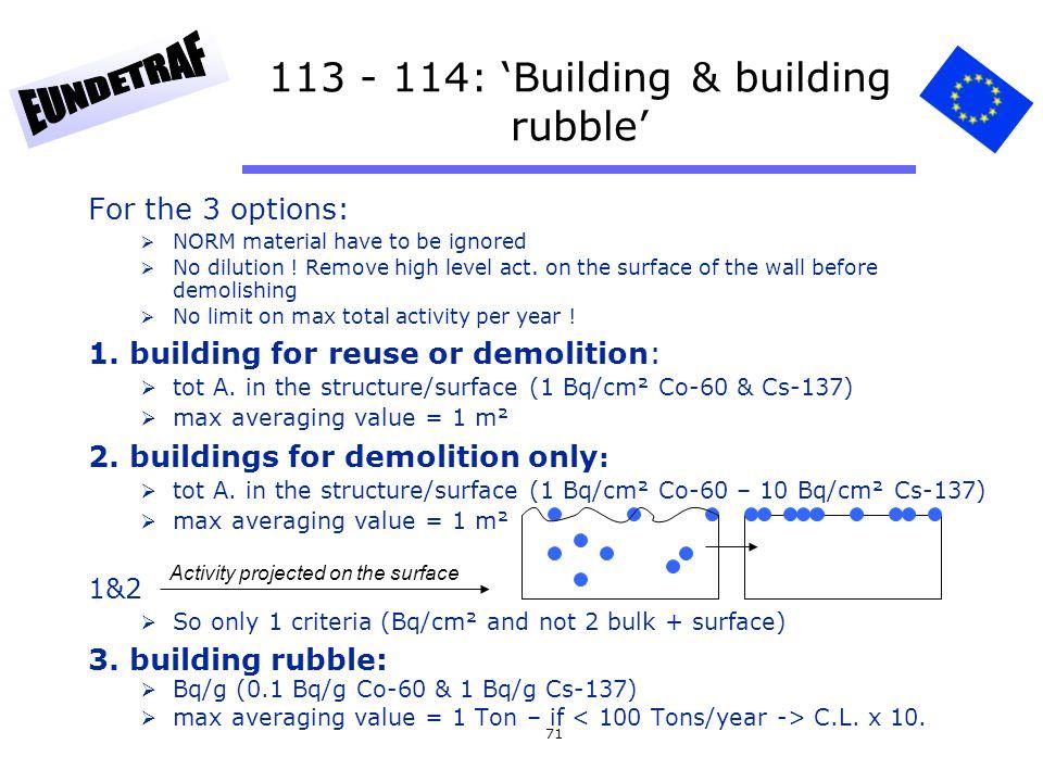113 - 114: 'Building & building rubble'