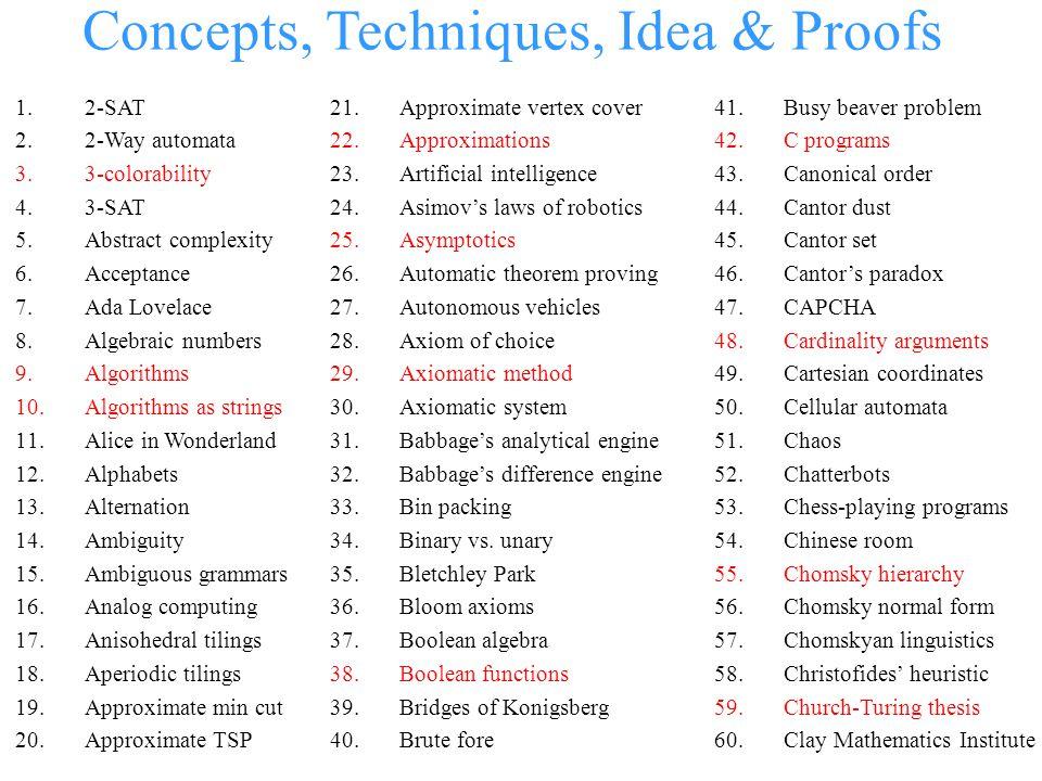 Concepts, Techniques, Idea & Proofs