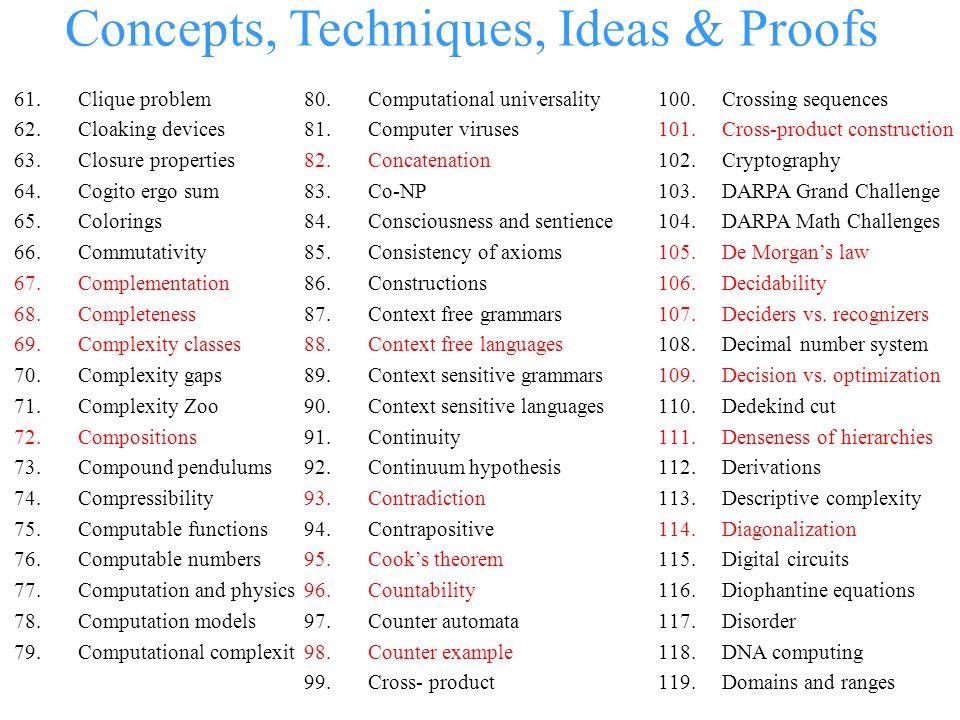 Concepts, Techniques, Ideas & Proofs