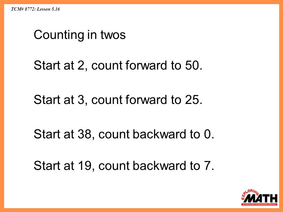 Start at 2, count forward to 50.