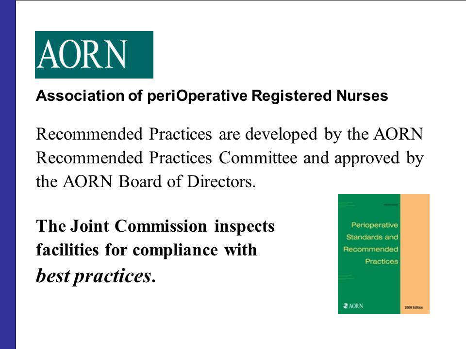 best practices. Recommended Practices are developed by the AORN