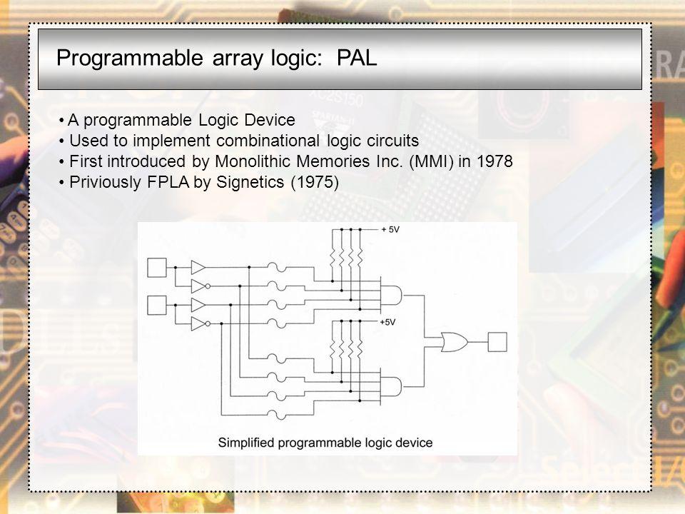Programmable array logic: PAL