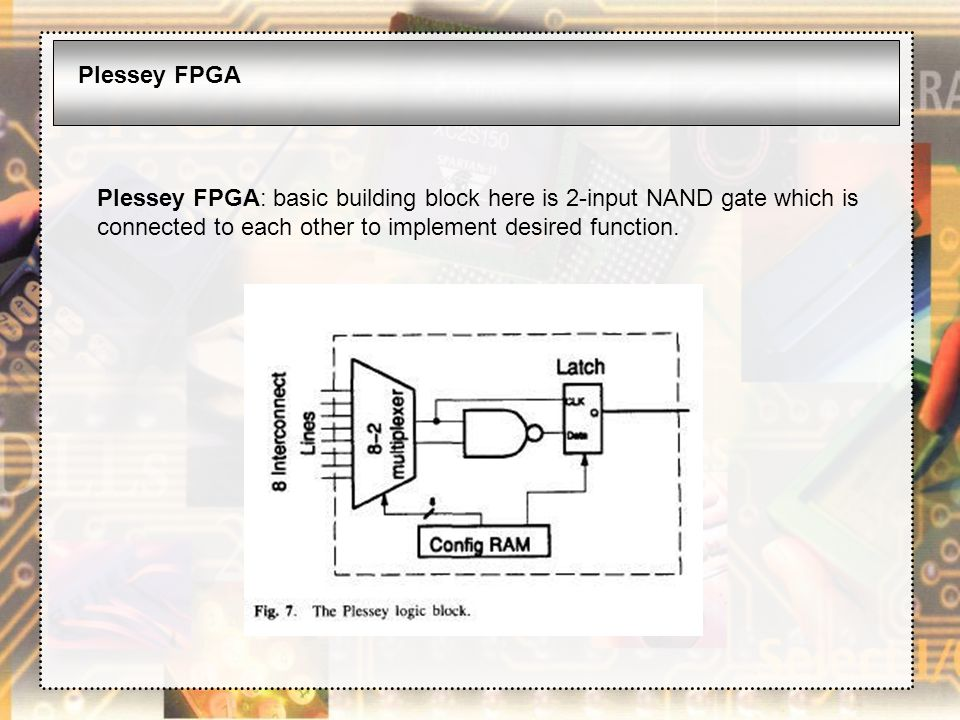 Plessey FPGA Plessey FPGA: basic building block here is 2-input NAND gate which is connected to each other to implement desired function.
