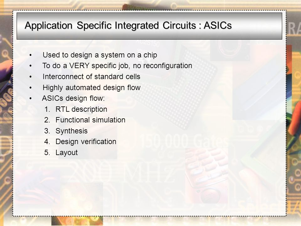 Application Specific Integrated Circuits : ASICs