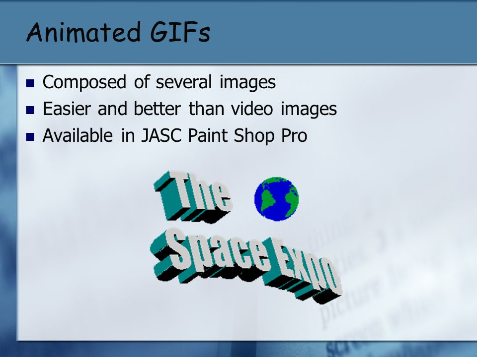 Animated GIFs Composed of several images