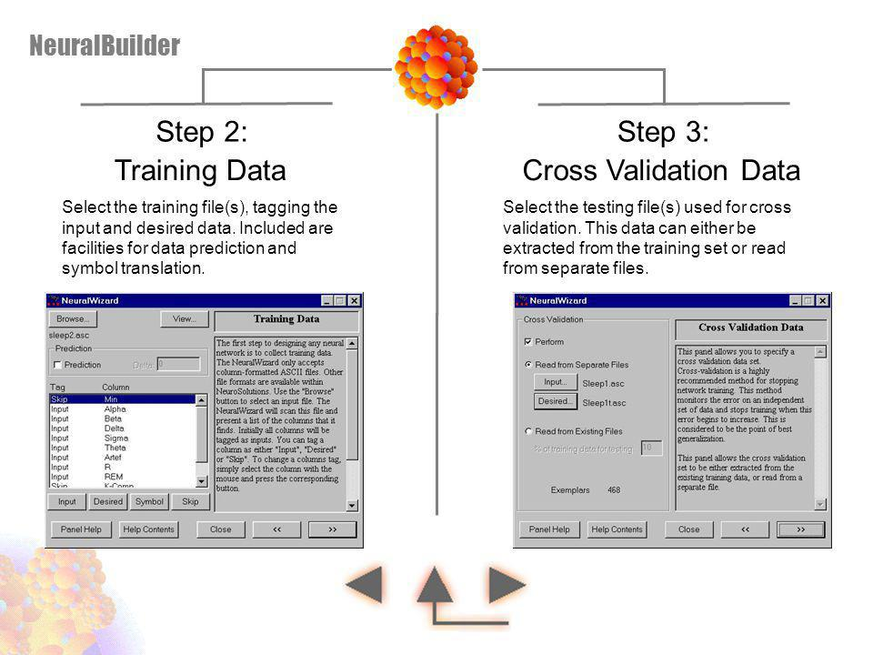 Step 2: Step 3: Training Data Cross Validation Data NeuralBuilder