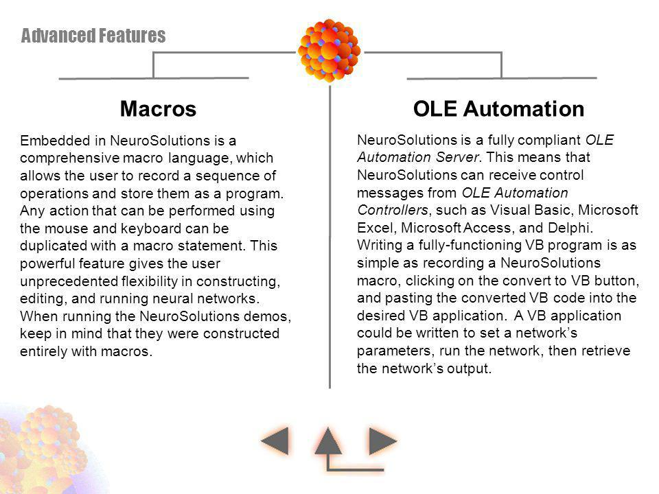 Macros OLE Automation Advanced Features