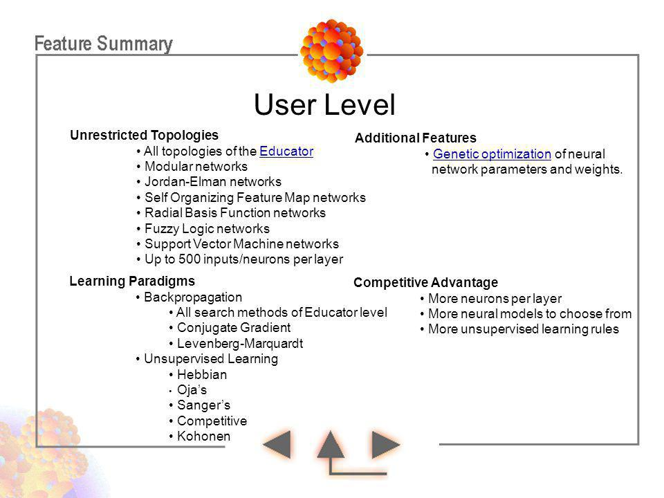 User Level Unrestricted Topologies Additional Features