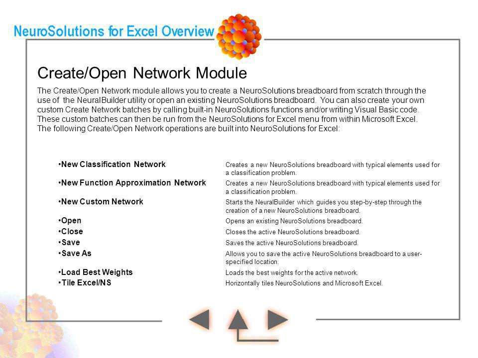 Create/Open Network Module