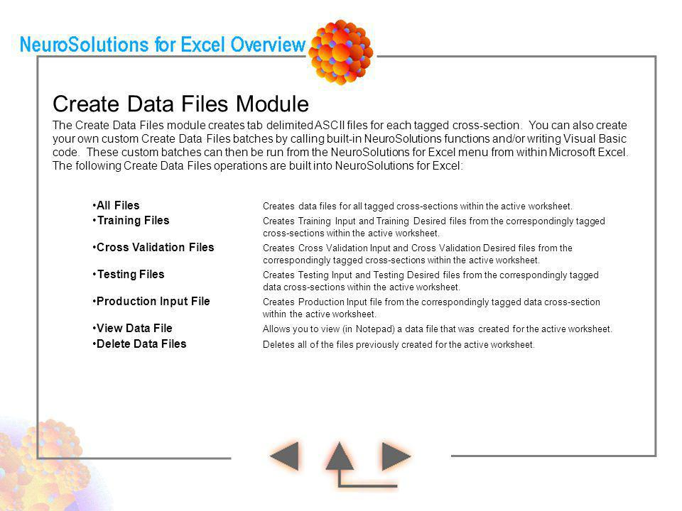 Create Data Files Module