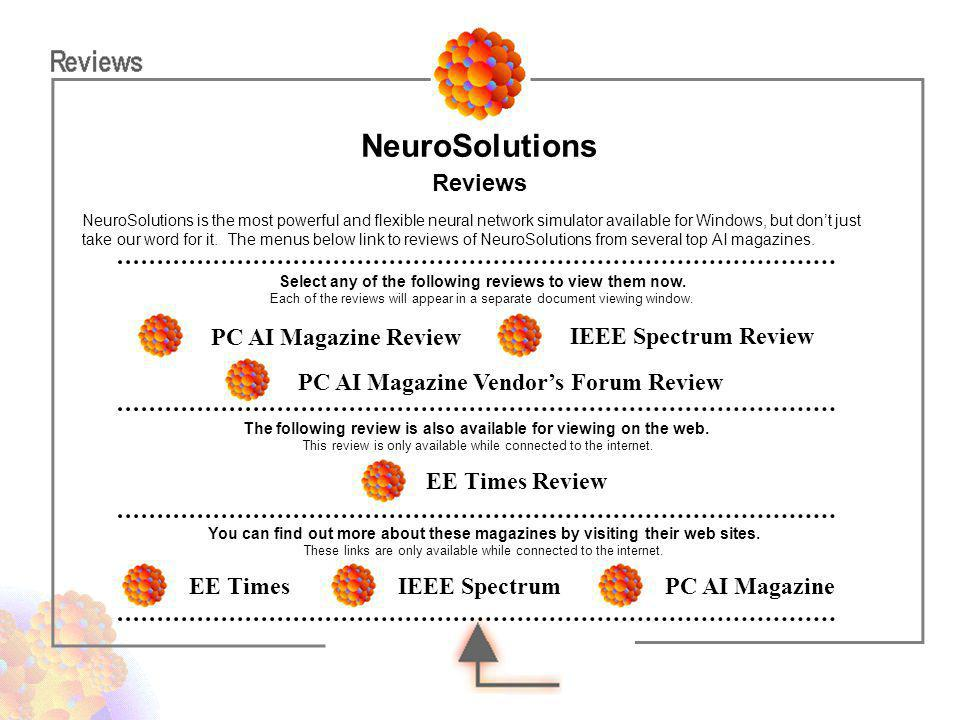 NeuroSolutions Reviews PC AI Magazine Review IEEE Spectrum Review
