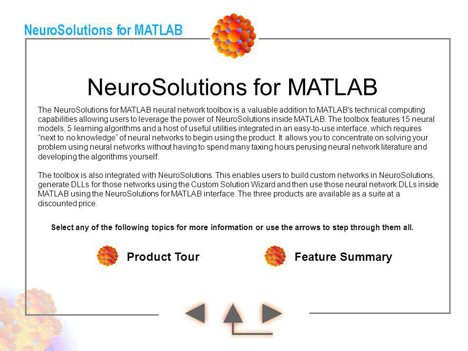 NeuroSolutions for MATLAB