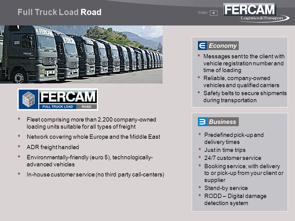 Full Truck Load Road Index. Messages sent to the client with vehicle registration number and time of loading.