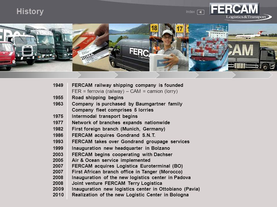 History Index. 1949 FERCAM railway shipping company is founded FER = ferrovia (railway) – CAM = camion (lorry)