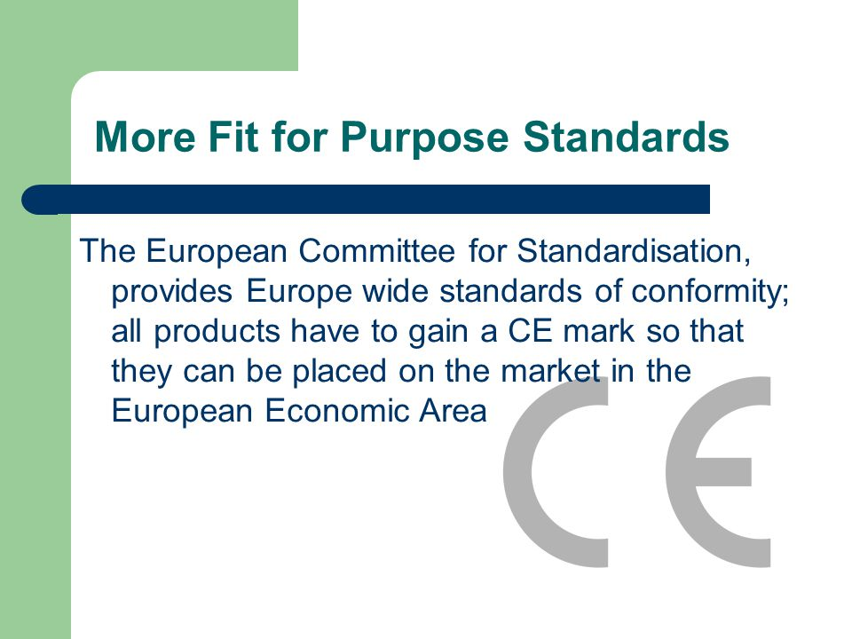 More Fit for Purpose Standards