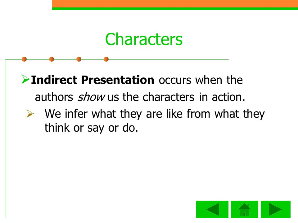 Characters Indirect Presentation occurs when the