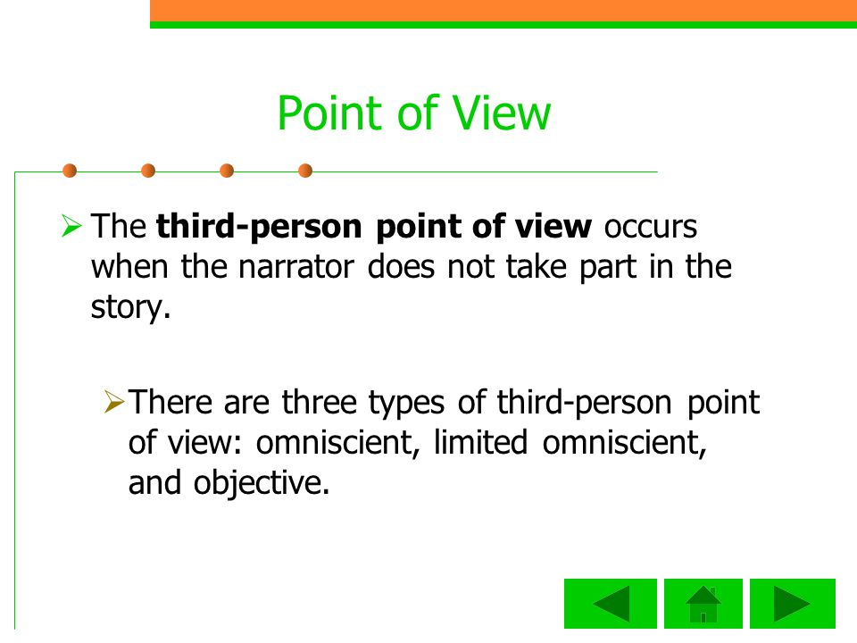 Point of View The third-person point of view occurs when the narrator does not take part in the story.