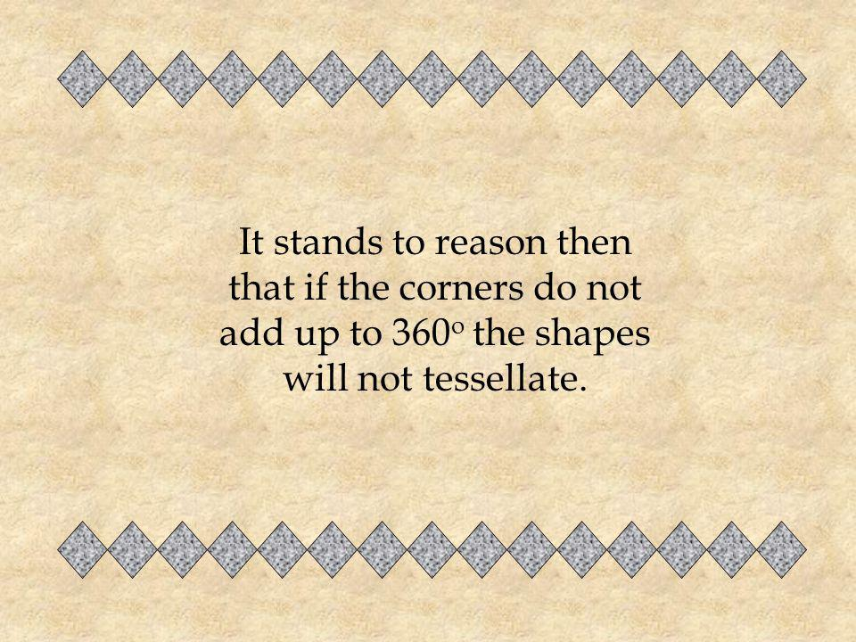 It stands to reason then that if the corners do not add up to 360o the shapes will not tessellate.