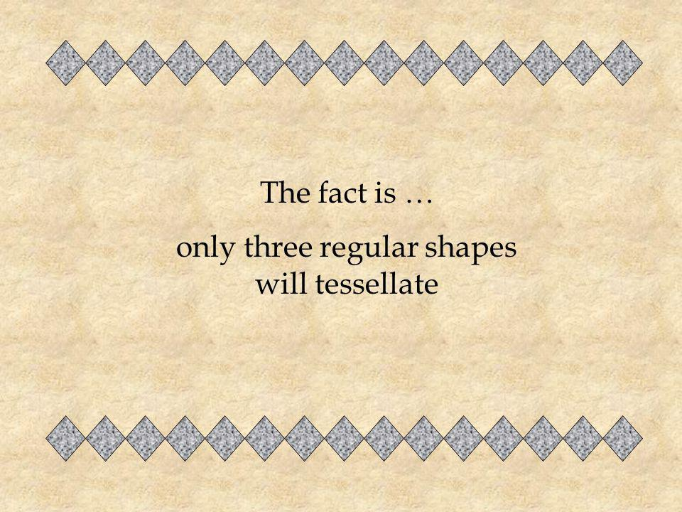 only three regular shapes will tessellate