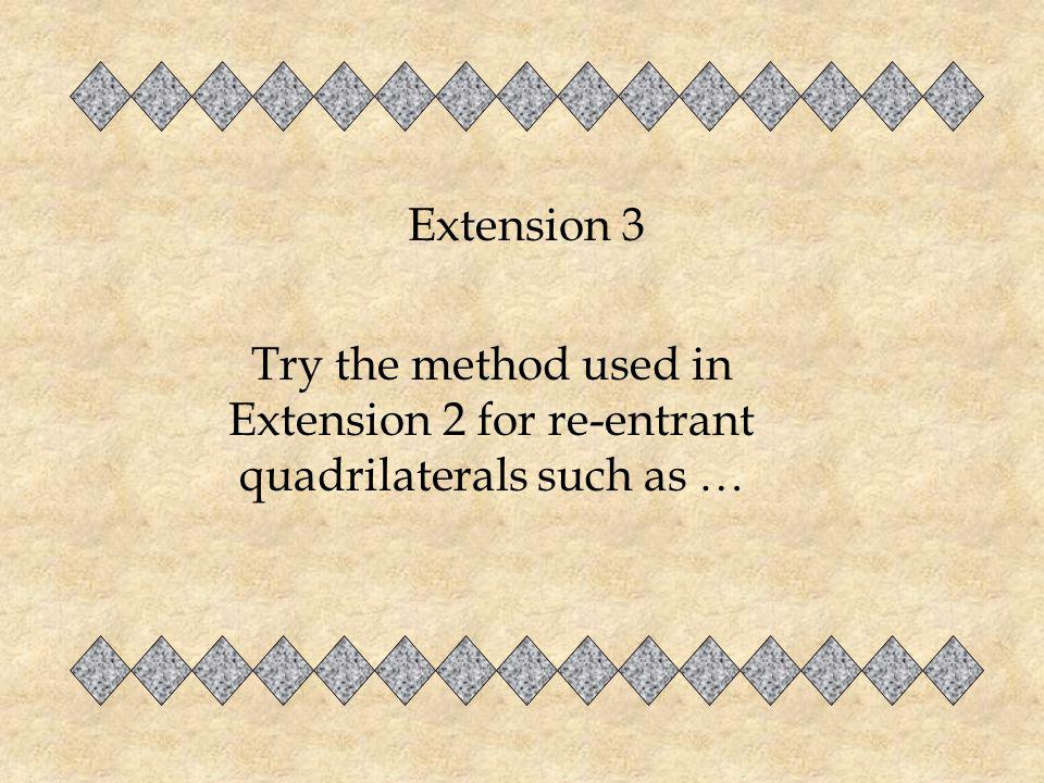 Extension 3 Try the method used in Extension 2 for re-entrant quadrilaterals such as …