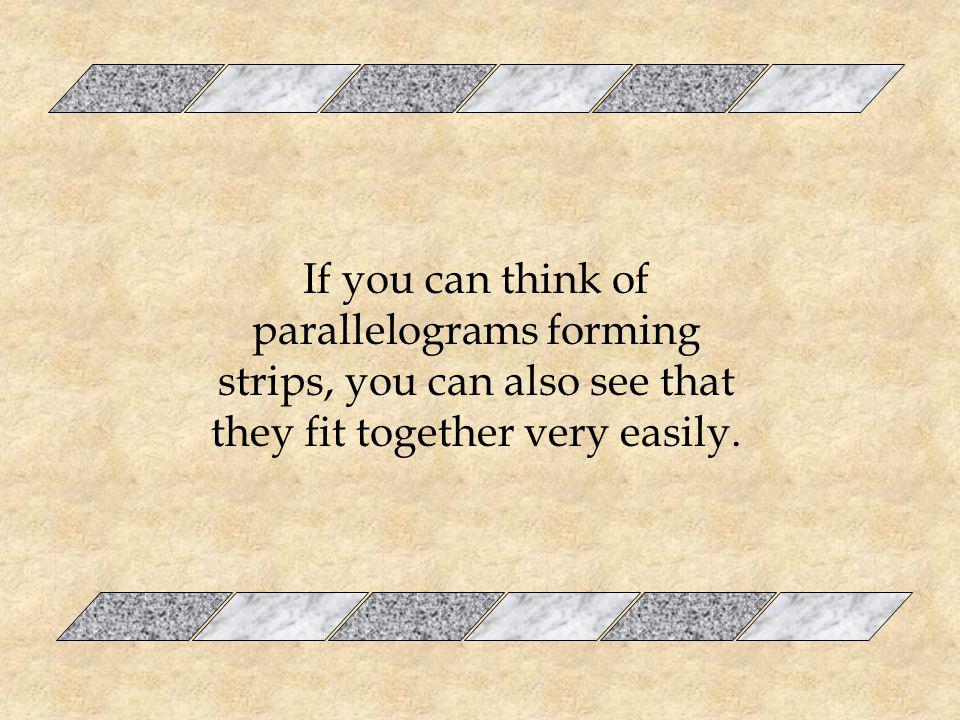 If you can think of parallelograms forming strips, you can also see that they fit together very easily.