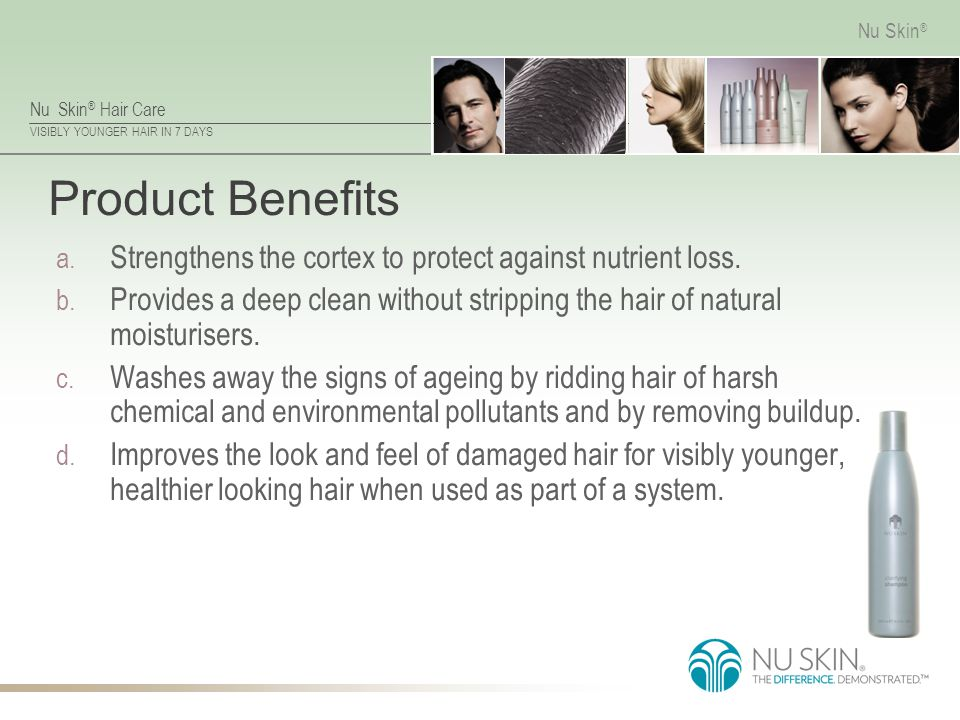 Product Benefits Strengthens the cortex to protect against nutrient loss. Provides a deep clean without stripping the hair of natural moisturisers.
