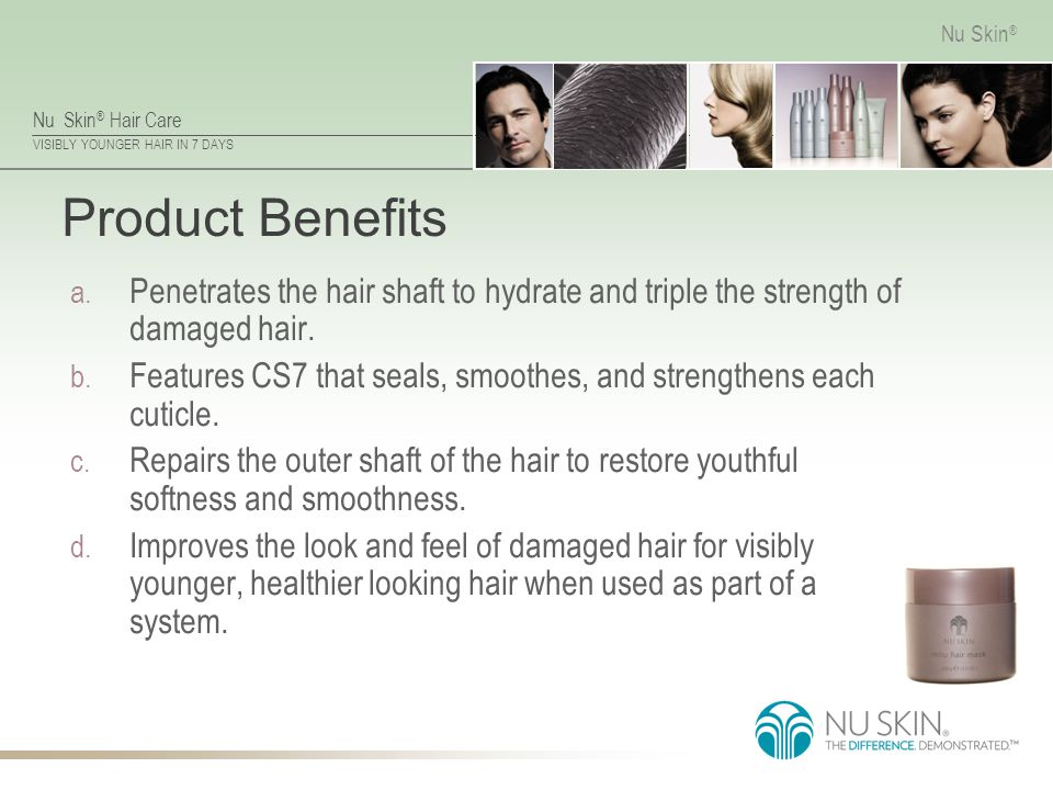 Product Benefits Penetrates the hair shaft to hydrate and triple the strength of damaged hair.